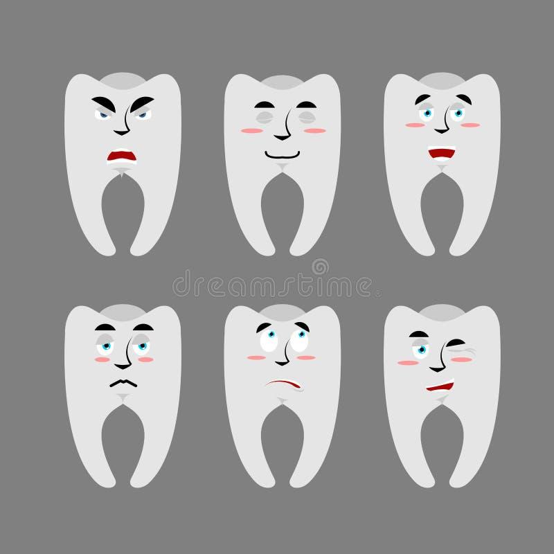 Stellen Sie Zähne mit Gefühlen ein Netter und verärgerter Zahn Überraschung und vektor abbildung