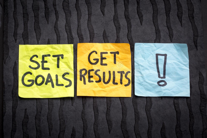 Stellen Sie Ziele ein, erhalten Sie Ergebniskonzept lizenzfreies stockbild
