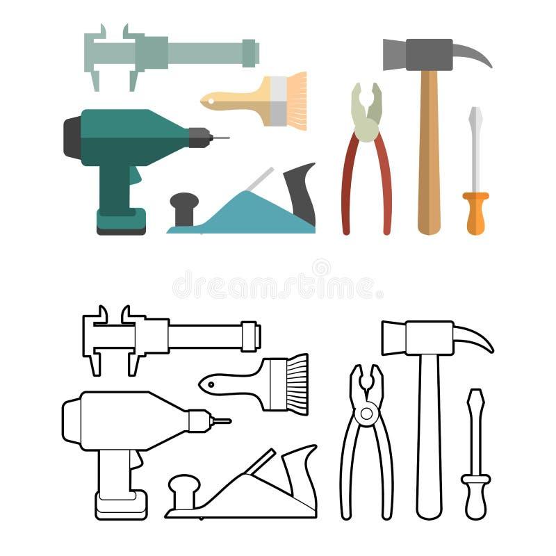 Stellen Sie Zimmereiwerkzeugmalbuch ein Schraubenzieher und Bohrgerät lizenzfreie abbildung
