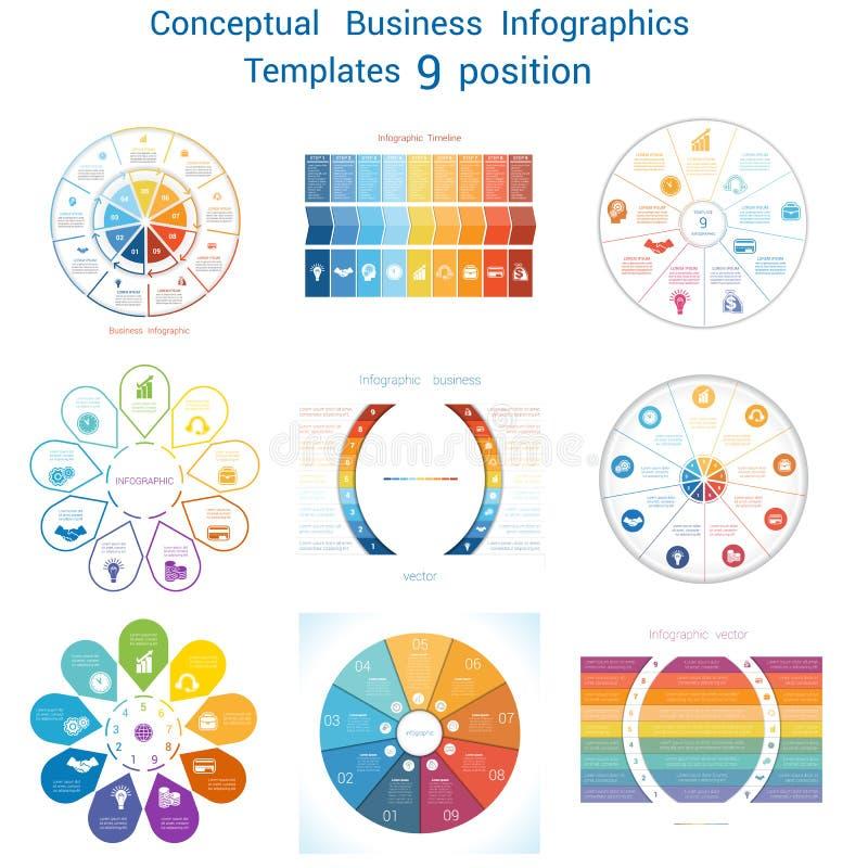Stellen Sie zyklische begrifflichvorgänge Infographics neun Positionen ein stock abbildung