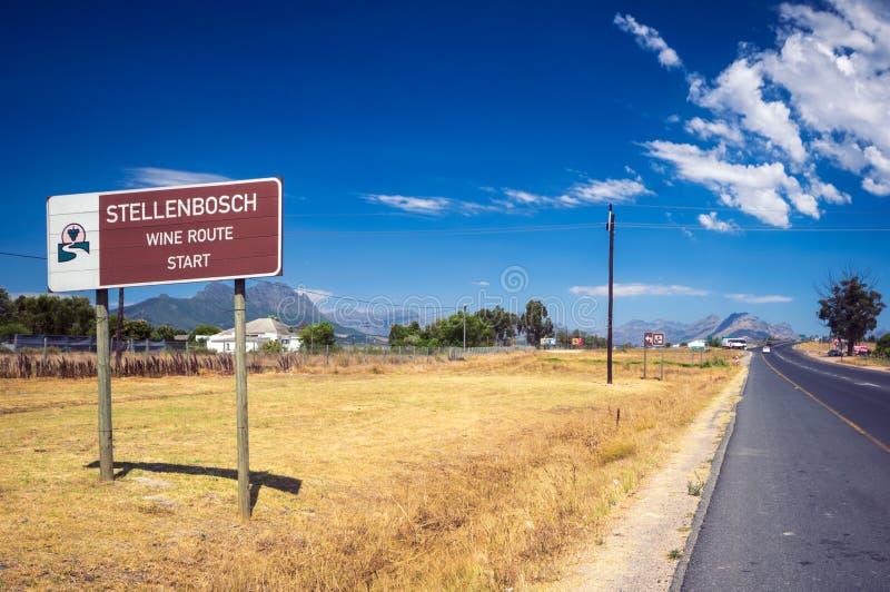 Stellenbosch American Express Wine rotas, África do Sul fotografia de stock royalty free