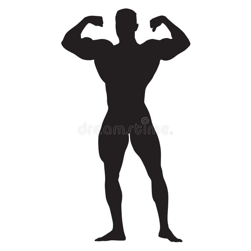 Stellend bodybuilder vooraanzicht, bevindende mens royalty-vrije illustratie