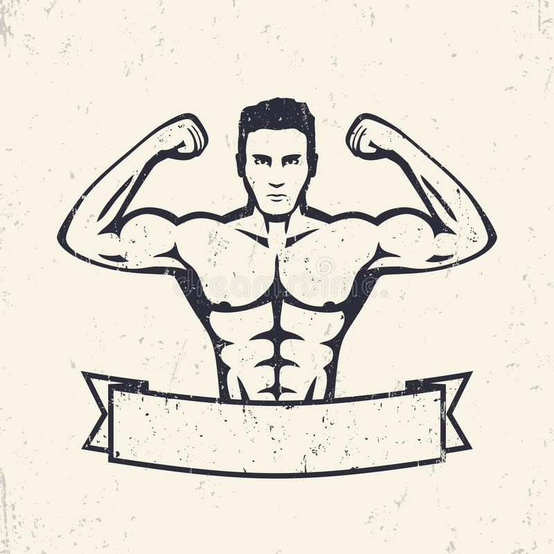 Stellende atleet, sterke bodybuilder royalty-vrije illustratie