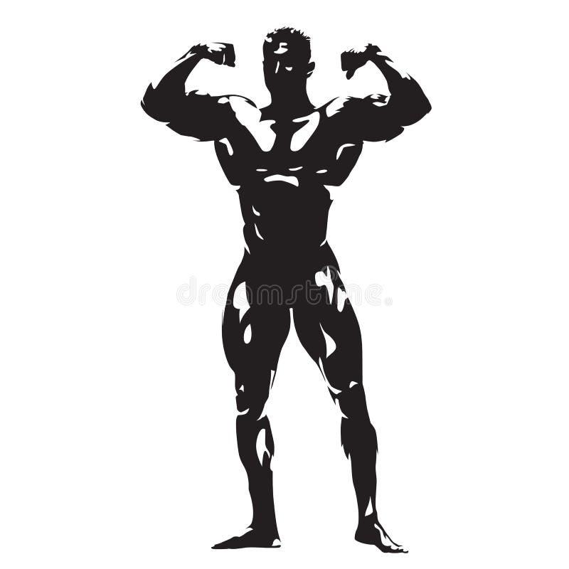 Stellende bodybuilder, abstract vectorsilhouet royalty-vrije illustratie