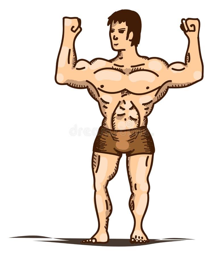 Stellende bodybuilder in broek ? stock illustratie