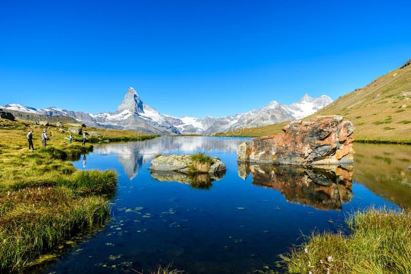 Stellisee - beautiful lake with reflection of Matterhorn - Zermatt, Switzerland stock photos