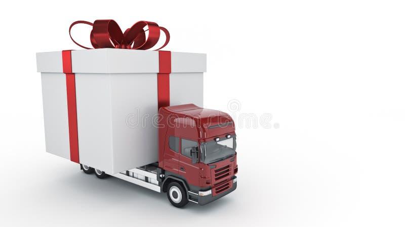 Stellt Lieferungsservicekonzept, LKW mit einer Geschenkbox dar stock abbildung