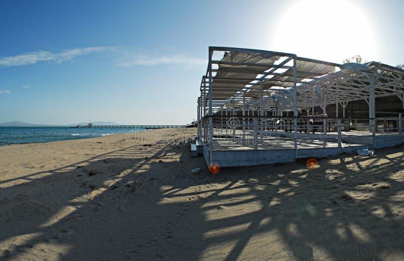 Stellt Panorama, Strand von Burgas, Bulgarien an lizenzfreie stockfotografie