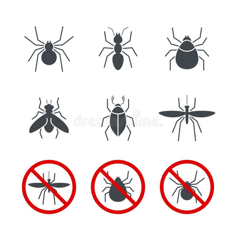 Stellte einfache Vektorikone des Insekts 2 ein stock abbildung