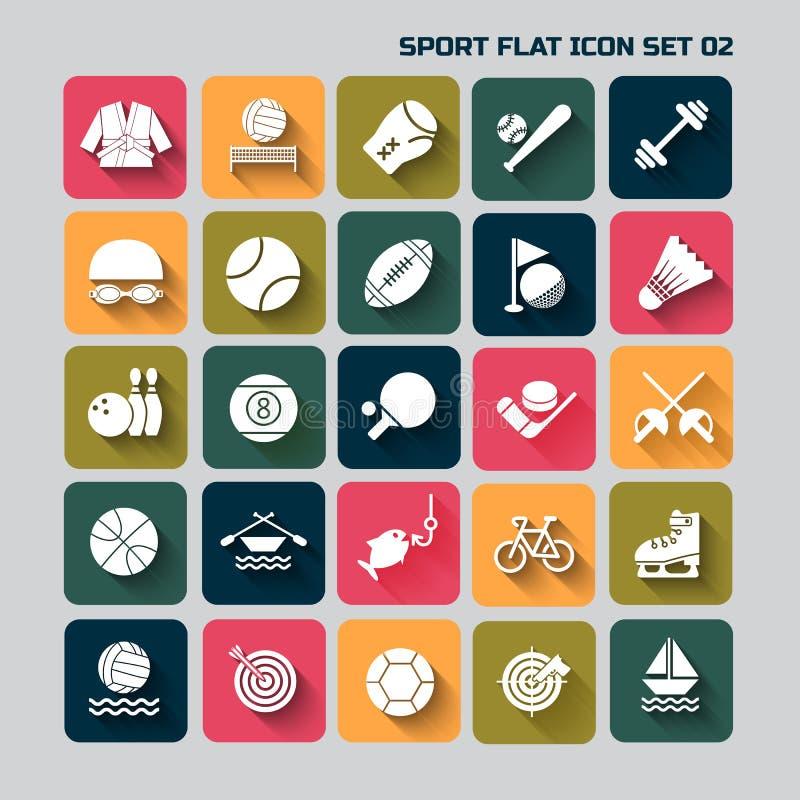 Stellte flacher Ikonensatz des Sports für Netz und Mobile 02 ein lizenzfreie abbildung