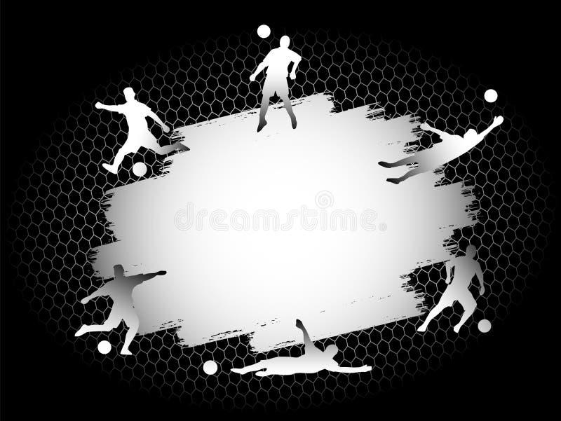 Stellte flaches Stadionsfeld des Fußballfußballs mit Spielerschattenbildern auf silbernen Hintergrund ein lizenzfreie abbildung