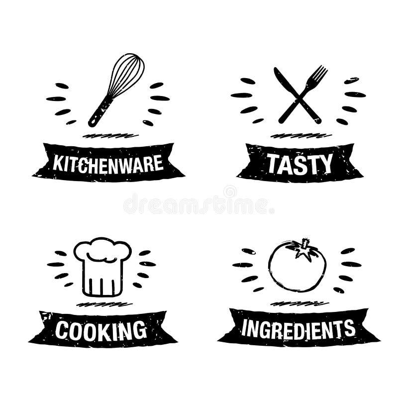 Stellte handdrawn Küchenikone der Vektorillustration mit Titel ein stock abbildung