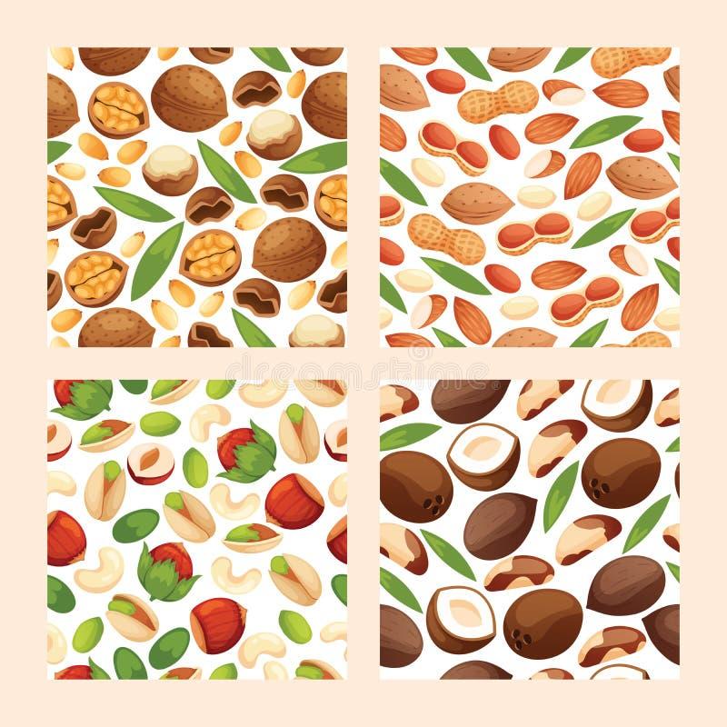 Stellte nahtlose Musternussschale des Nussvektors des Haselnuss- oder Walnuss- und Mandelnusshintergrundes Nahrung mit Acajoubaum vektor abbildung