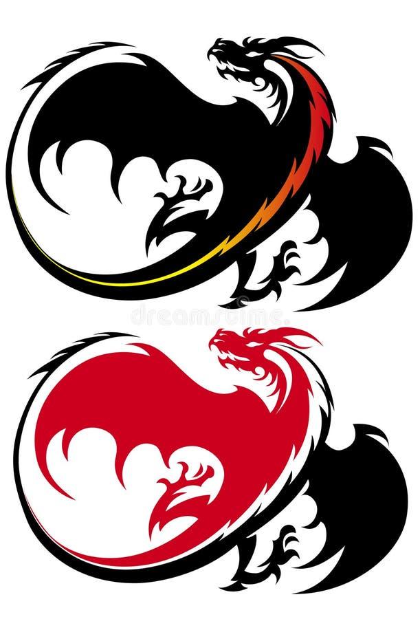 Stellte Stammes- Tätowierungabbildung des Drachen in nette Farben ein lizenzfreie abbildung