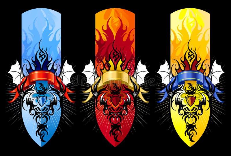 Stellte Stammes- Tätowierungabbildung des Teufels in Farben ein stock abbildung