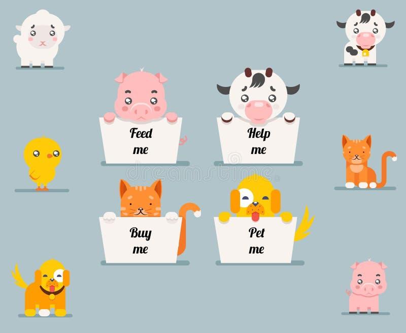 Stellten flache Designcharaktere der netten kleinen Bettlertierhilfskatzenhundeschweinkuhlammhühnerkarikatur Vektorillustration e vektor abbildung
