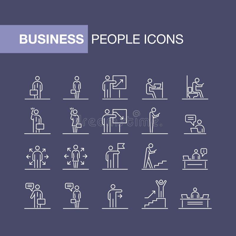 Stellten Geschäftsleute Ikonen einfache Linie flache Illustration ein vektor abbildung