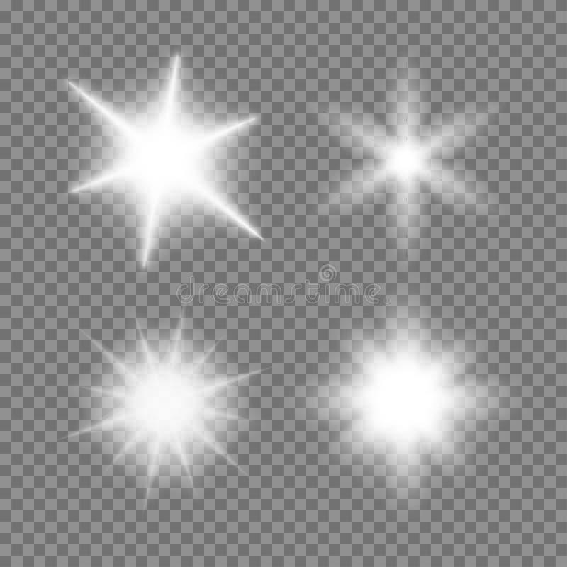 Stellten glühende Lichtexplosionen des Vektors mit Scheinen auf transparentem Hintergrund ein lizenzfreie abbildung