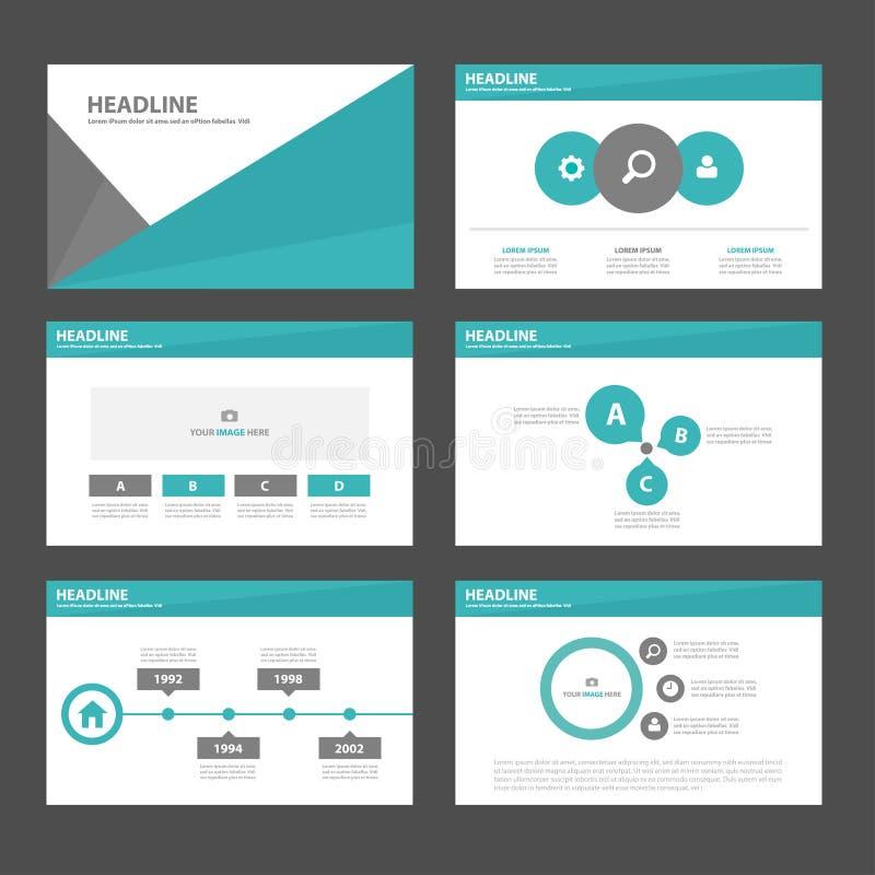 Stellten infographic Element des grünen schwarzen Polygons 6 und flaches Design der Ikonendarstellungsschablonen für Broschürenfl lizenzfreie abbildung
