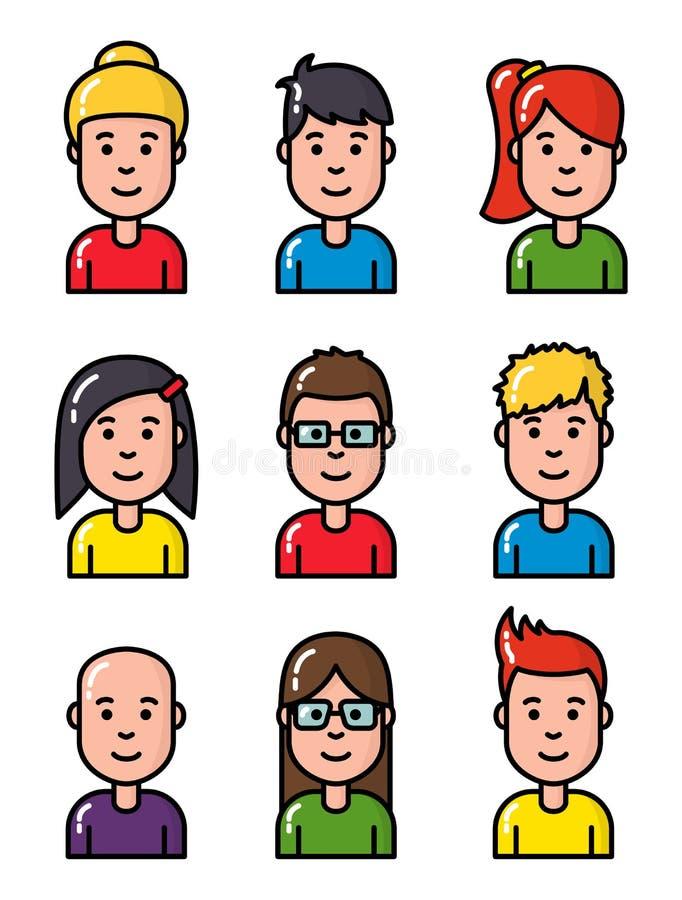 Stellten junge lächelnde Leutecharaktere des Avataraporträts lineares Design des netten Entwurfs ein vektor abbildung