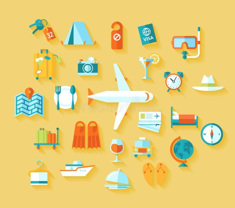 Stellten moderne Illustrationsikonen der flachen Designart vom Reisen auf Flugzeug ein und planten Sommerferien, Tourismus lizenzfreie abbildung