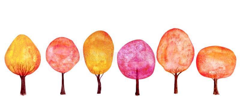 Stellten orange rote Bäume des Herbstes Goldhintergrund ein Bunte neue Baumsammlung der Aquarellkarikatur stock abbildung