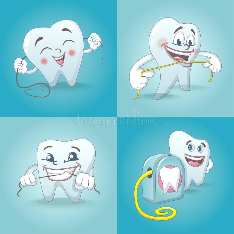 Stellten zahnmedizinische Zahnikonen der Glasschlacke, Karikaturart ein stock abbildung