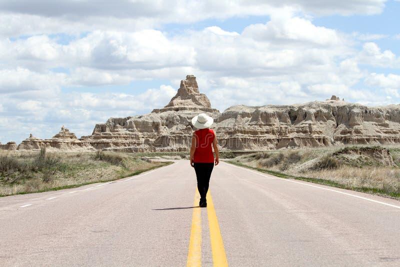 Stellung auf einer Straße in den Ödländern von South Dakota lizenzfreie stockfotos