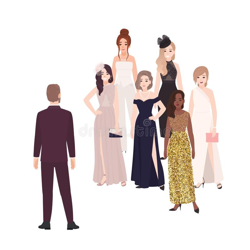 Stellung der männlichen Rolle vor Gruppe glücklichen Schönheiten gekleidet in der eleganten Glättungskleidung Populärer Mann oder lizenzfreie abbildung