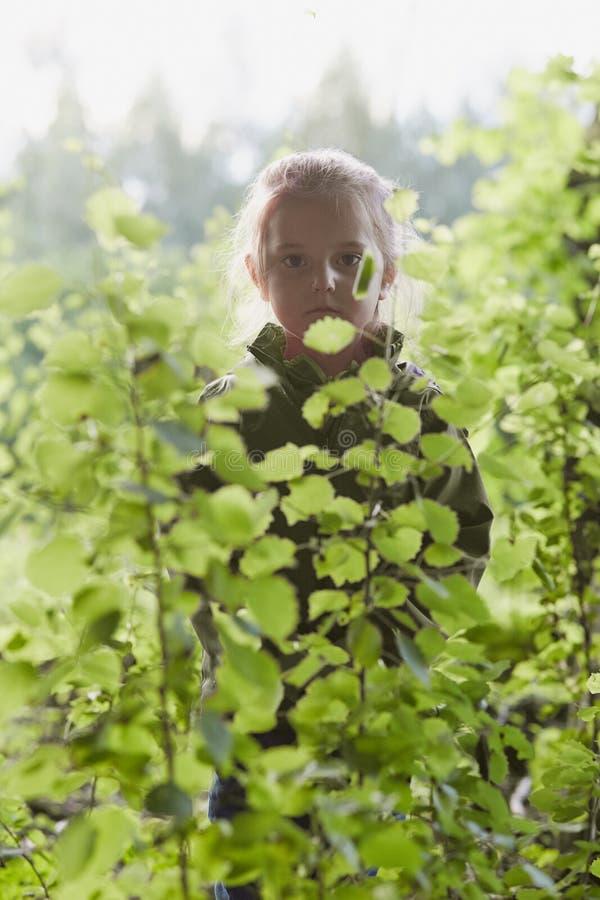 Stellung des kleinen Mädchens im Wald hinter den Blättern stockfoto