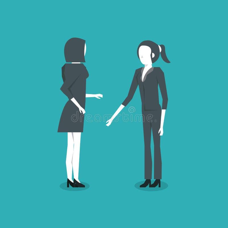 Stellung mit zwei Geschäftsfrauen stock abbildung