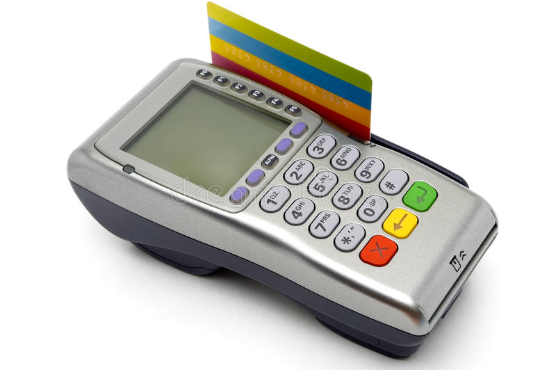 Stellung-Terminal mit der Kreditkarte eingesteckt lizenzfreies stockbild