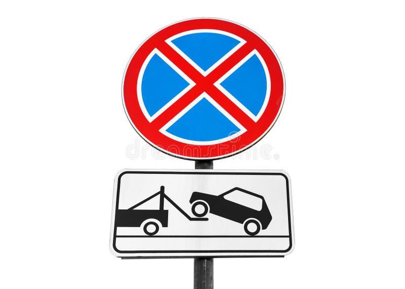 Stellung verboten, Abschleppwagen, lokalisiert lizenzfreies stockfoto