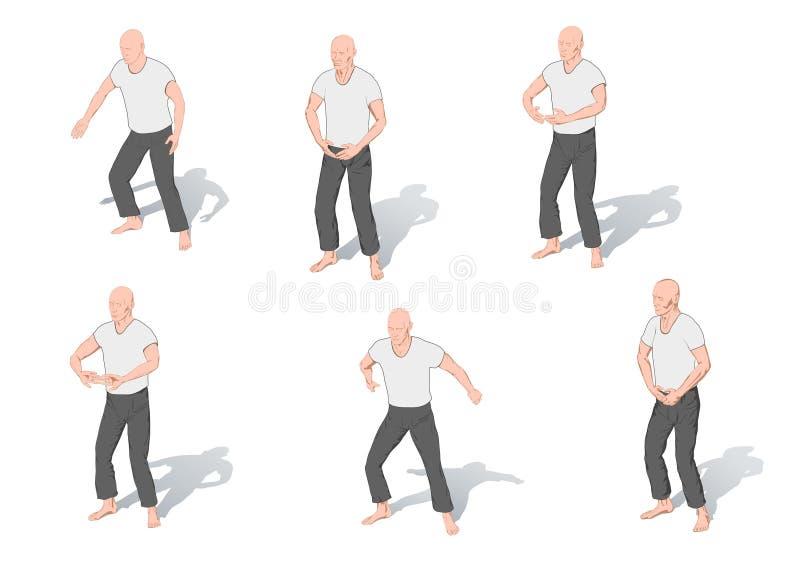 Stellungen von Gymnastik ein Chi kung vektor abbildung