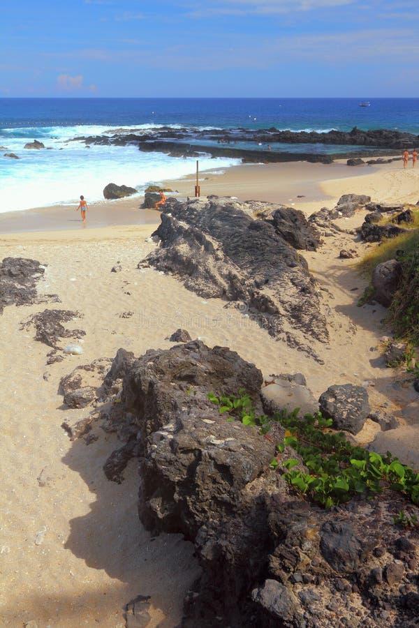 Stelnad lava på den Boucan Canot stranden, möte arkivfoton