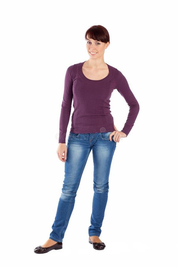 Stelt de Jonge Vrouw van Fullbody in Ontspannen stock afbeelding