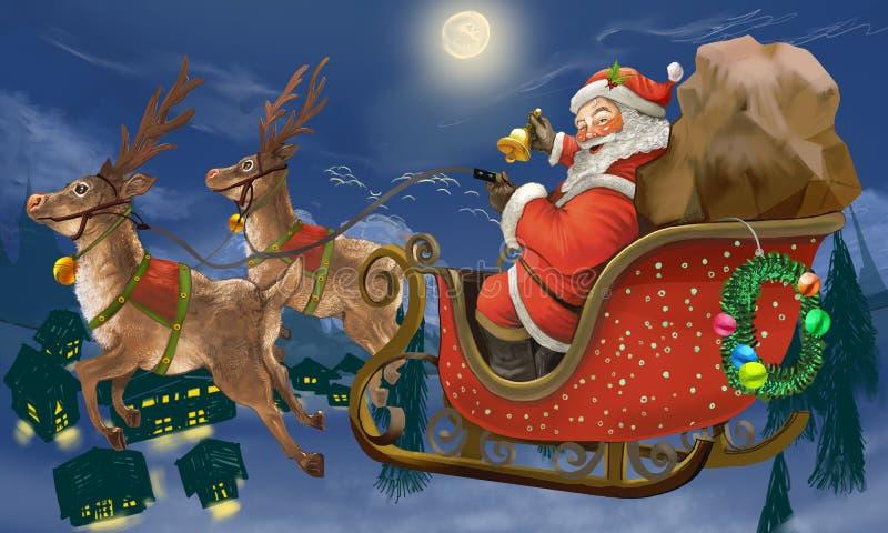 Stelt hand getrokken Santa Claus die ar het leveren berijden voor royalty-vrije illustratie