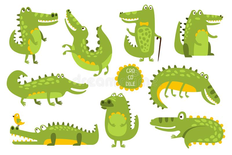 Stelt het krokodil Leuke Karakter in Verschillend Kinderachtige Stickers royalty-vrije illustratie