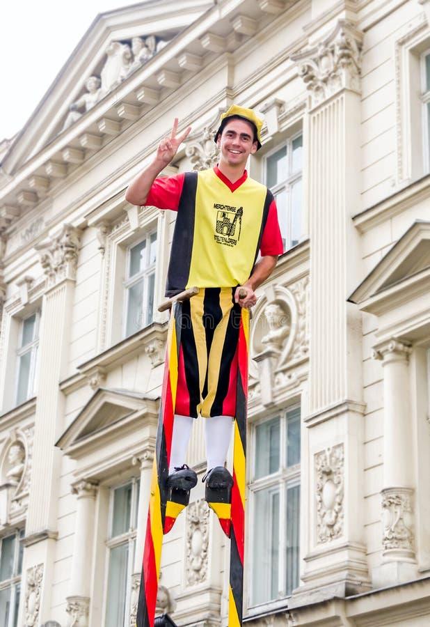 Steltlopers Merchtem Belgium, Stiltwalkers royalty free stock images
