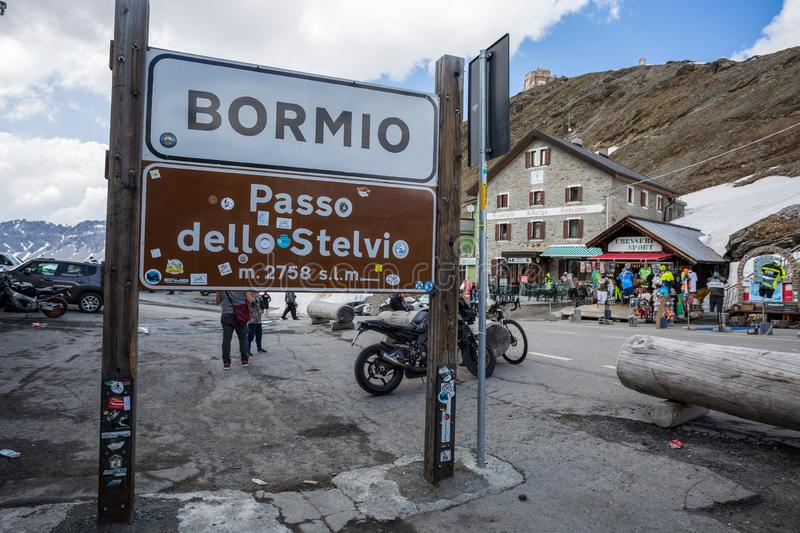 Stelvio Pass is the highest automobile pass in Italy, 2758 metres and the second highest in Europe, located between Trentino-Alto. Adige and Lombardy, Italy stock photos