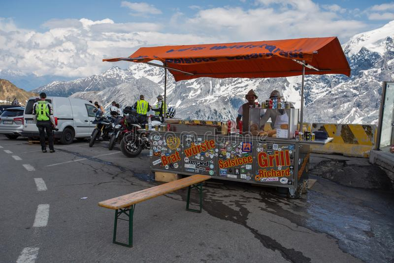 Street food at Stelvio Pass, the highest automobile pass in Italy, 2758 metres, located. Between Trentino-Alto Adige and Lombardy, Italy royalty free stock photography