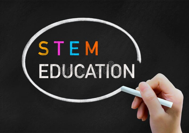 STEM education background concept on chalkboard stock photo