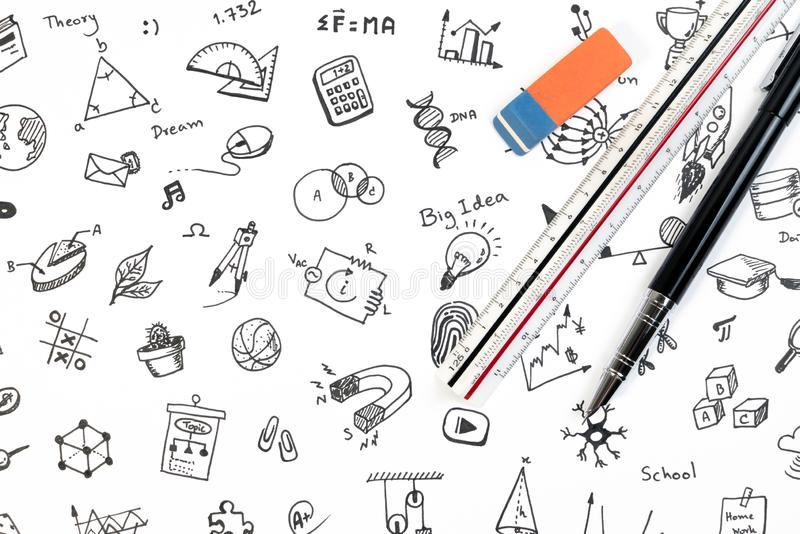 STEM education background concept. STEM - science, technology, engineering and mathematics background with pen, ruler and doodle. royalty free stock photography