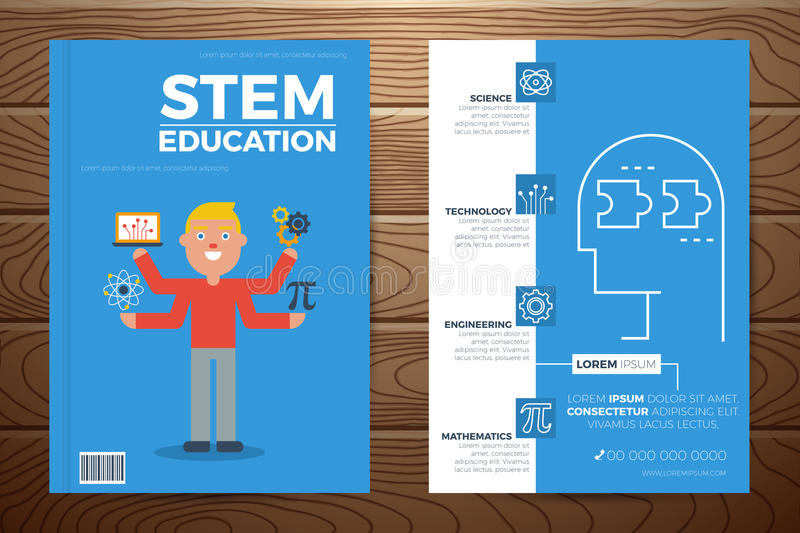 Book Cover Design Elements : Stem education book cover and flyer template stock vector