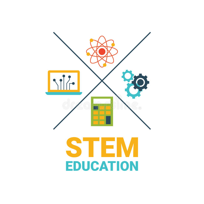 Science Technology Engineering And Math Education For: STEM Education Concept Stock Vector