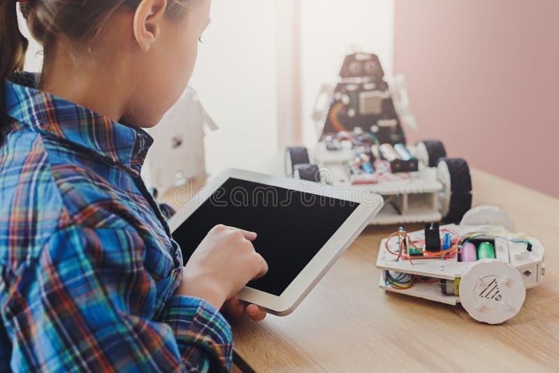 Stem education. Creating robotics project, mockup royalty free stock photos
