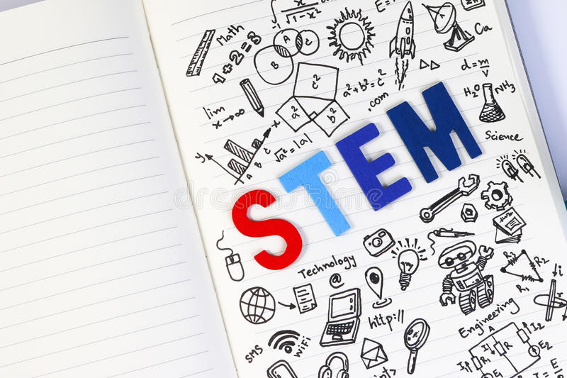 STEM education. Science Technology Engineering Mathematics. STEM concept with drawing background stock image
