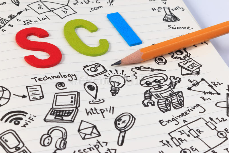 STEM education. Science Technology Engineering Mathematics. STEM concept with drawing background. STEM education background royalty free stock images