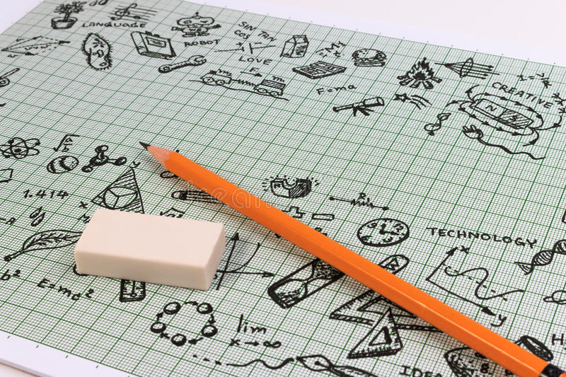 STEM education. Science Technology Engineering Mathematics. STEM concept with drawing background. Hand with pencil writing on education background stock photography
