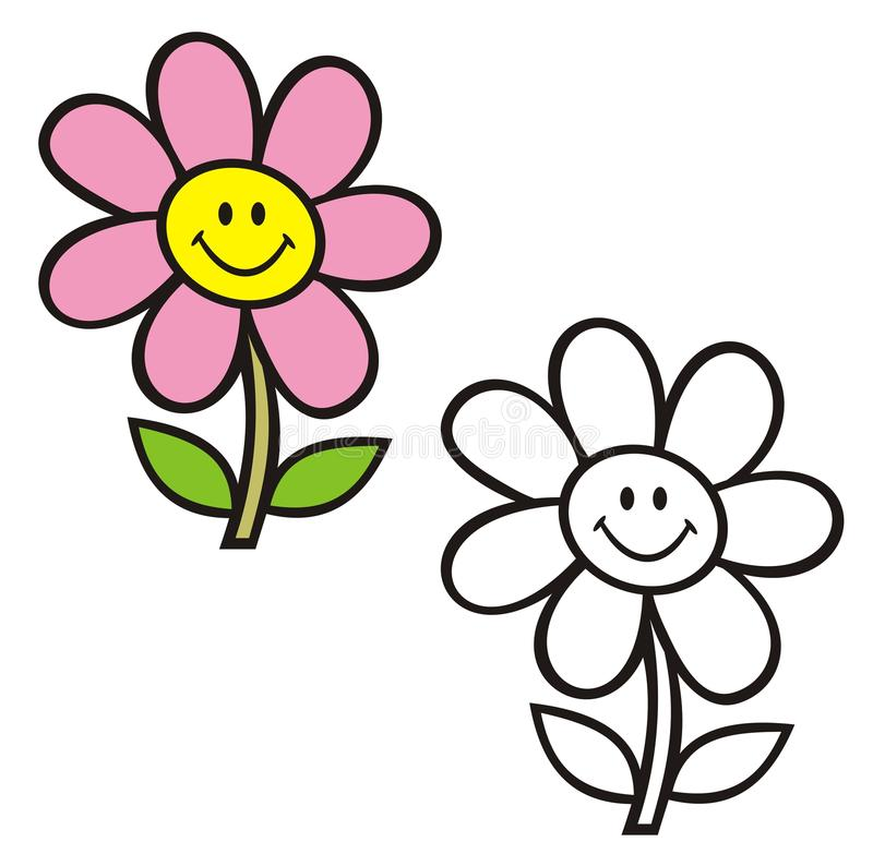 Stem and flower with smiley face. Coloring book. stock image